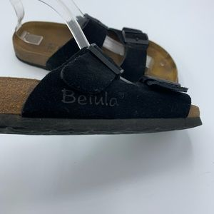 Birkenstock Shoes - Betula Birkenstock Black Suede Slip On Sandals